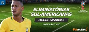 Eliminatórias Sul-Americanas terão 20% de cashback