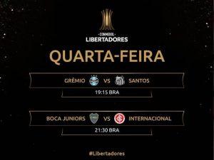 Palmeiras empata. Hoje tem Grêmio x Santos e Boca x Inter