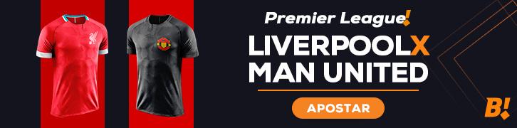 arte do maior clássico da Inglaterra, entre Liverpool e Manchester United