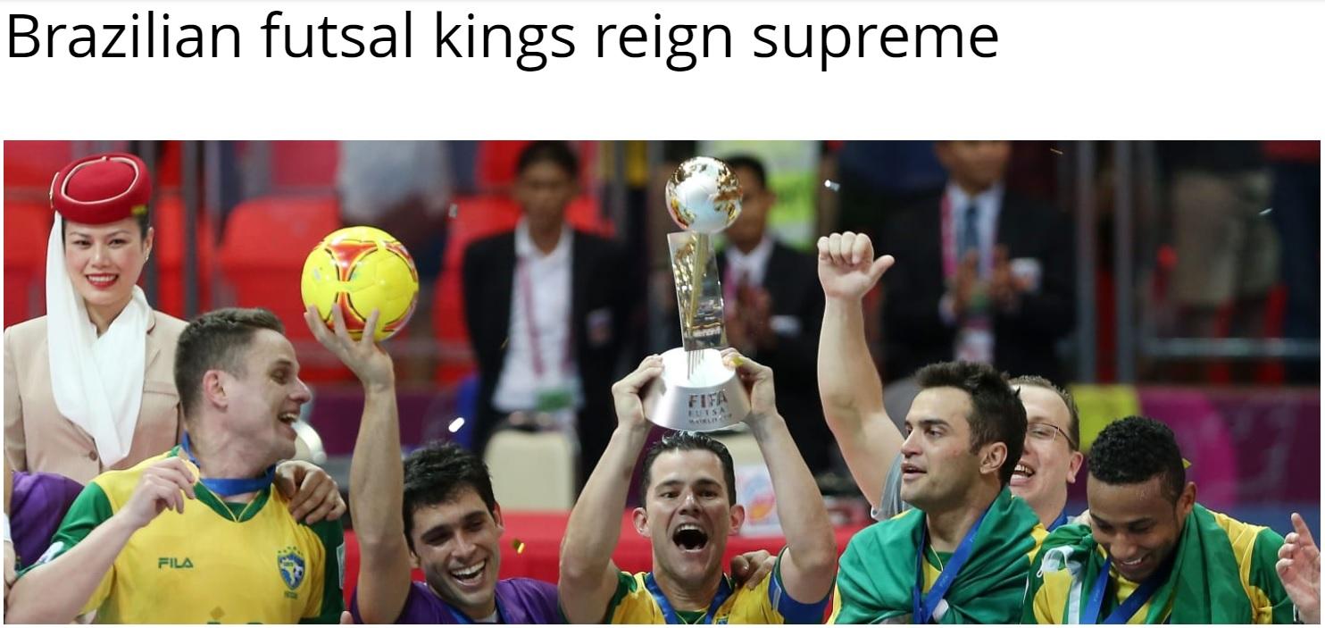 site da fifa chama Brasil de rei supremo do futsal após título de 2012