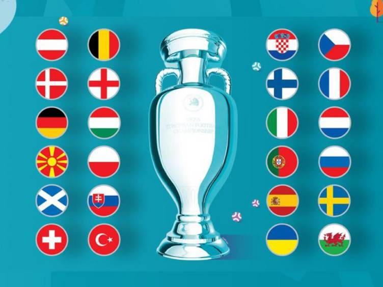 troféu e participantes da uefa euro 2020 torneio de seleções europeu
